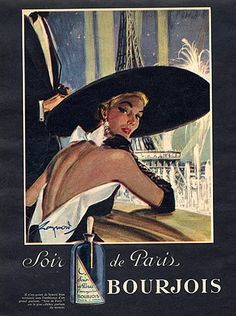 Bourjois (Perfumes) 1951 Soir de Paris, Eiffel Tower, Raymond (Brénot) Vintage advert Perfumes illustrated by Raymond (Brénot) | Hprints.com