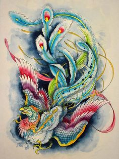 Hou-ou and Dragon - Google Search.Hou-ou,the mythological Japanese bird that appears during peaceful and prosperous times,and the beginnings of new eras;the bird is also often seen with the Dragon,as the two are blissful lovers.