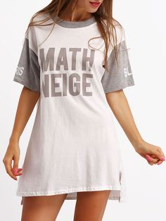 Shop Grey White Crew Neck Letters Print Loose Dress online. SheIn offers Grey White Crew Neck Letters Print Loose Dress & more to fit your fashionable needs.