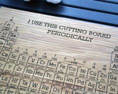 Periodic Table Engraved Wood Cutting Board - 12x16