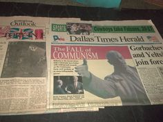 Lot 2 Vintage Newspapers The Fall of Communism Gorbachev & Yeltsin Join Forces