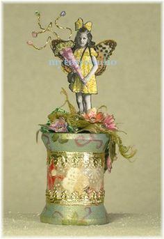 My Tiny Studio . com spool fairy doll altered art by mytinystudio Wooden Spool Crafts, Wooden Spools, Altered Tins, Altered Art, Paper Art, Paper Crafts, Diy Crafts, Art Altéré, Art Projects