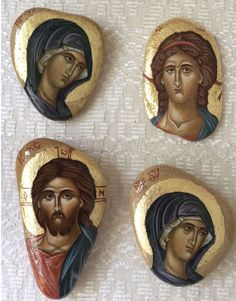 Small icons of Christ, the Theotokos and possibly St. Religious Images, Religious Icons, Religious Art, Byzantine Art, Byzantine Icons, Small Icons, Religious Paintings, Art Icon, Orthodox Icons