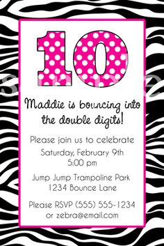 zebra print invitation or thank you card by pinkpickleparties, Birthday invitations