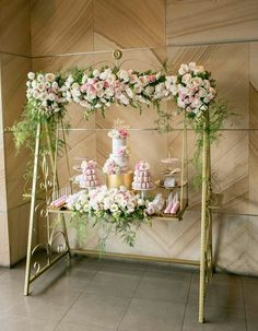 """Custom swing cake and dessert """"table"""" beautifully decorated with flowers & ferns ~ we ❤ this! moncheribridals.com"""