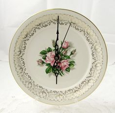 Wall Clock Made From Vintage Bone China Plate Wall Clock with