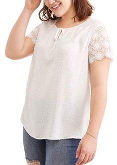 14e87944bb Concepts - Concepts Women s Plus Lace Sleeve Tee - Walmart.com