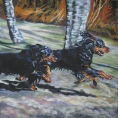 Gordon Setter dog art CANVAS print of LA Shepard by TheDogLover