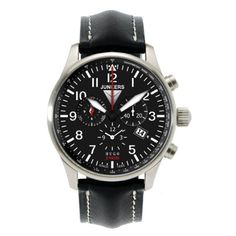 Junkers Herren-Armbanduhr XL Hugo Chronograph Quarz Leder 66842 | Your #1 Source for Watches and Accessories