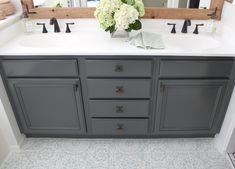 How to refinish bathroom cabinets bathroom remodel ванная Grey Bathroom Cabinets, Diy Cabinets, Bathroom Flooring, Bathroom Cabinet Paint, Refinish Bathroom Vanity, Vanity Redo, Vanity Cabinet, Vanity Sink, Kitchen Cabinets