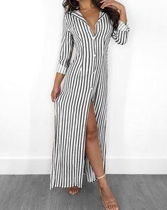 Shop Stripes Long Sleeve Button Up Slit Maxi Shirt Dress right now, get great deals at Chiquedoll. Long Shirt Dress, Maxi Dress With Slit, Dress Skirt, Bodycon Dress, Women's Fashion Dresses, Casual Dresses, Midi Dresses, Fashion Clothes, Style Fashion