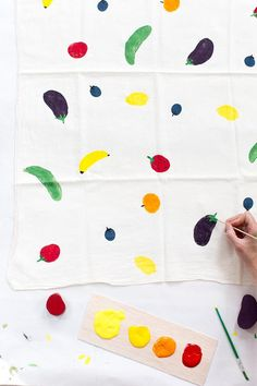 Try your hand at making a potato stamp tea towel. #DIY