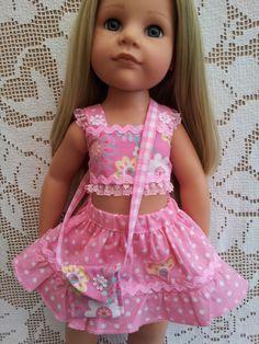 SalStuff, FAB Pink Polka Dot Skirt, Floral Suntop & Bag Gotz Designafriend doll