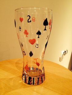 Playing card pilsner glass