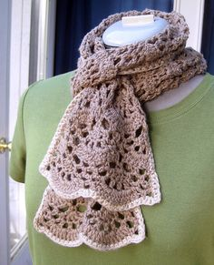 crochet lace scarf. cindy likes this one.  not a pattern.  just inspiration.