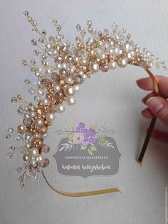 Buy or order a tiara and earrings in the online store at the Fair Masters. Incredible gentle tiara, which seems to be created for the most important day in life. Created from crystal, pearl beads and golden beads. Might be interesting to make for photo sh Bridal Crown, Bridal Tiara, Headpiece Wedding, Bridal Headpieces, Hair Jewelry, Bridal Jewelry, Jewellery, Bridal Hair Pins, Wedding Hair Pieces