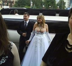 uhmm I'm sorry, did you forget the top of your wedding dress when you got dressed? WTF?