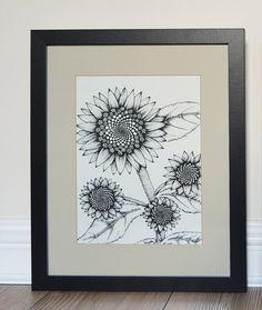Fibonacci Sunflower print. Unique modern art by AliSunflowersUK