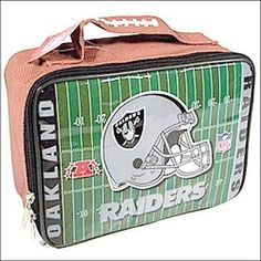 OAKLAND RAIDERS NFL Officially Licensed Football SOFT Lunch Box Lunch Bag by NFL. $8.99. OAKLAND RAIDERS Officially Licensed Football SOFT Lunch Box Lunch Bag -Team logos and NFL logos on lunch box, Helmet & Field Vinyl Lunch Box, Elastic strap inside keeps your drink upright and in place, Easy to clean vinyl construction ... wipes off easily THIS IS AN OFFICIALLY LICENSED NFL SPORTS PRODUCT WITH A Strap Inside For Drink. Great Looking Lunch Bag for the Specia...