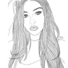 tumblr, outline, tumblr outline, idea, girl, illustration, drawings, art