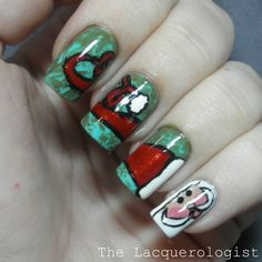 The Lacquerologist: Holiday Nail Art: Swirly Santa Hat!