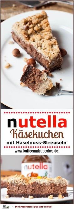 Nutella-Schoko-Käsekuchen mit Haselnuss-Streuseln ♥Für eine 26cm Springformnutella-schoko-streusel-kaesekuchen-thumbnailZutaten:Für den Boden 50 g Zucker 100 g Butter, weich 25 g Haselnüsse, gemahlen 20 g Kakao zum Backen 100 g MehlFür die Füllung 150 g Vollmilchschokolade 150 g Nutella 100 g Zucker 500 g Frischkäse, Doppelrahmstufe 2 EierFür die Streusel 100 g Butter, weich 100 g Zucker 100 g Haselnüsse, gemahlen 100 g MehlZubereitung: Den Backofe...