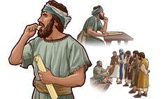 Ezequiel come um rolo que representava a mensagem de Deus; depois, ele fala com os homens de Israel