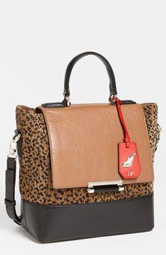Diane von Furstenberg '440 Top Handle - Small' Leopard Jacquard Satchel