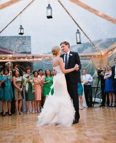 Love the clear canopy for an outdoor wedding feel even in the colder/wetter seasons - Photo: James Christianson / Featured: The Knot Blog