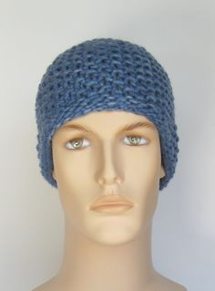 Classic Merino Wool Knit Hat in Blue, Mens Toque. $30 by kerryblueknits on etsy