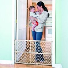 New Position And Lock Safety Gate Baby Pet Safe Infant Door Wood Tan Evenflo #Evenflo