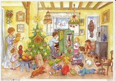 älterer Adventskalender Weihnachtszimmer Kinder spielen mit Geschenken Christbau