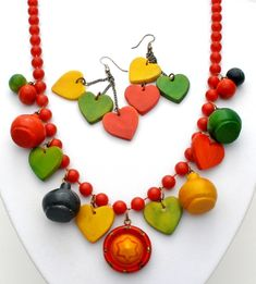 Mexican Wood Heart Bead Necklace Set Dangle Earrings Red Green Yellow Vintage | Jewelry & Watches, Vintage & Antique Jewelry, Costume | eBay!