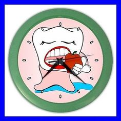 Color Wall Clock DENTIST Orthodontist Teeth Tooth Brush Dental DR (27200425)