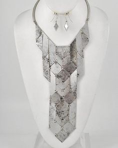 Iron Lady Large Silver Statement Necklace $58 #statementjewelry #jewellery #jewlry