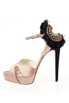 Brian Atwood blush black gold chain platform sandals