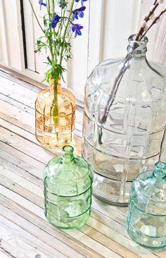 HK-living Vaas waterfles geel glas h41cm 11liter - wonenmetlef.nl