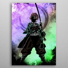 Wonderful Demon Hunter poster made out of metal. Metal Wall Plate for Bedroom and Living Room Get It Here My Poster Wall, Poster Prints, Art Prints, Posters, Hunter Anime, Demon Hunter, Cool Anime Pictures, Black Silhouette, Demon Slayer
