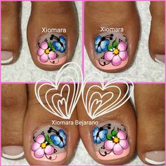 La imagen puede contener: una o varias personas y primer plano Pedicure Nails, Mani Pedi, Manicure, Pedicure Designs, Cool Nail Designs, Toe Nail Art, Toe Nails, Butterfly Makeup, Magic Nails