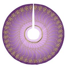 Swirls Array Gold on Lavender Tree Skirt