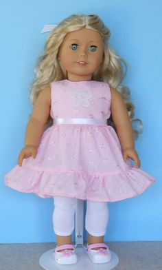 American Girl Doll Clothes  Pink Eyelet Dress  by Magicgeniecrafts, $14.00