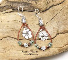 Floral Dangle Leather Earrings, Flower Drop Leather Earrings, Picasso Seafoam Seed Bead Earrings, Boho Leather Earrings by CinfulBeadCreations on Etsy