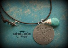 Keep Calm Love On-Rustic Western Cowgirl Faith Charm Necklace, Silver, Pewter, Turquoise, Leather
