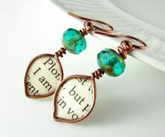 Wire Wrapped Earrings Turquoise Czech Picasso Glass Copper Wire Jewelry Dangle Earrings Wire Wrapped Jewelry Copper Earrings Leaf Earrings polymoreplayin $28