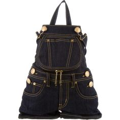 Pre-owned Moschino Overalls Backpack ($715) ❤ liked on Polyvore featuring bags, backpacks, blue, pre owned bags, blue bag, shoulder strap bags, hardware bag and day pack backpack