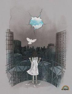 . #art #illustration #bird #girl