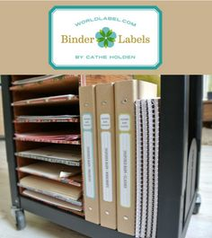 FREE printable Binder Labels in a vintage style by @Cathe Holden     Whether you're organizing recipes, clippings, business papers, or schoolwork, binders can be the ideal office supply to keep things tidy. In my effort to organize craft classes and workshops,