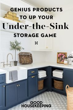 Finding enough room to store items under your sink can be a challenge. See these brilliant under-the-sink storage ideas to make the most of your space. Sink Organizer, Organizers, Storage Bins, Storage Ideas, Low Cabinet, Buying A New Home, Under Sink, Diy Cleaners, Home Organization