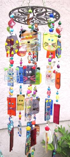 Cats wind chimes, sun catcher fused glass www.ebay,com/usr/MattsGlassact or www.etsy.com/shop/MattsGlassWindChimes