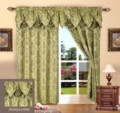 Amazon.com - Set of 2 Penelopie Jacquard Look Curtain Panels, 54 Inches Wide x 84 Inches Long Curtain, Burgundy - Window Treatment Panels 29,50